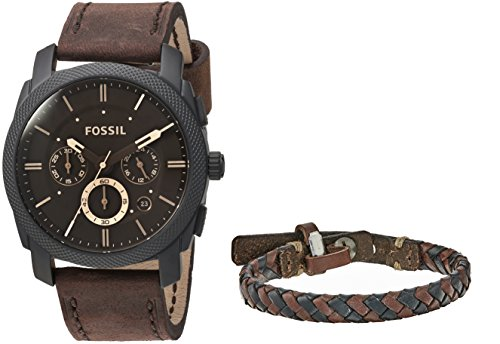 Fossil Mens FS5251SET Machine Chronograph Dark Brown Leather Watch and Bracelet Box (Fossil Set Wrist Watch)