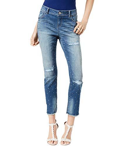INC International Concepts Curvy-Fit Studded Frayed-Hem Jeans (Indigo, ()