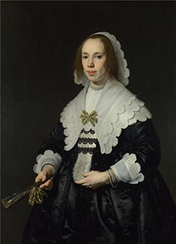 Oil Painting 'Bartholomeus Van Der Helst - Portrait Of A Lady In Black Satin With A Fan,1644' Printing On High Quality Polyster Canvas , 12x17 Inch / 30x42 Cm ,the Best Living Room Decor And Home Gallery Art And Gifts Is This High Resolution Art Decorative Canvas Prints