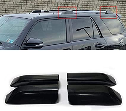 99Parts Set of 4Pcs Black Roof Rack Cover Rail End Shell Replacement Fit for Toyota Highlander 2008-2013