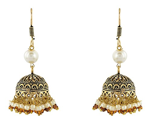 Price comparison product image Handicraft Kottage Oxidized Gold Alloy Jhumki Earrings for Women (AEG-9012)