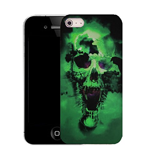 Mobile Case Mate IPhone 5 clip on Silicone Coque couverture case cover Pare-chocs + STYLET - green holed skull pattern (SILICON)