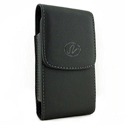 Black Vertical Leather Phone Case Cover Pouch Holder Belt Holster Clip for Verizon Motorola Moto Z Play Droid - Verizon Motorola Moto Z2 Play - Verizon Samsung Galaxy J7 V (2017)