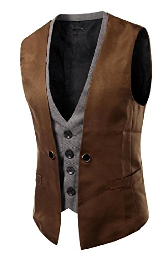 Coolred Mens Faux Twinset Single Breasted Stitching Casual Vest Brown (Vest Twin Set)