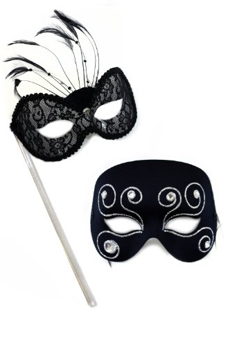 Torino-Masquerade Glitz Black Lace Stick Masquerade Masks for a Couple by Success Creations USA