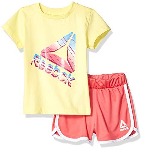 (Reebok Girls' Big Sleeve Athletic T-Shirt and Pull-On Short Set, Rainbow dust Lemonade, 8)