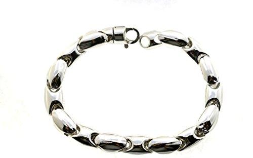 Bracelet Maille Ovale serpent en argent sterling 925hypoallergénique plaqué or blanc 21cm Poids 24,7Gr