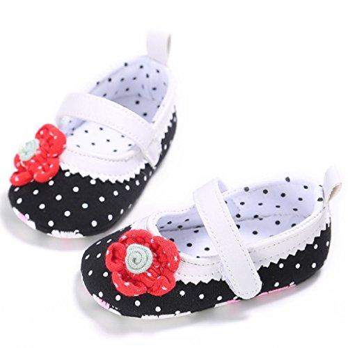 Zapatos de bebé Auxma Los bebés recién nacidos sólidos Rose flor bowknot tela zapatos Para 0-18 mes Negro