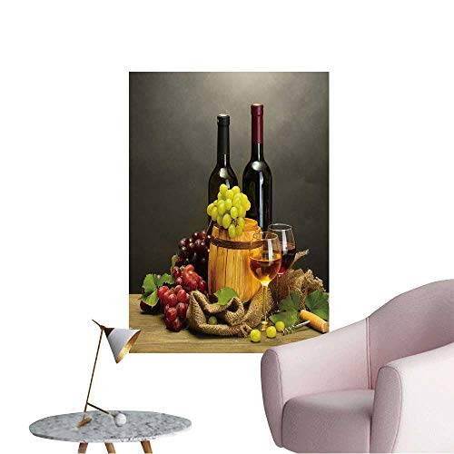 """Modern Painting Barrel,Bottles and Glasses of Wine and ripe Grapes on Wooden Table Home Decoration,20""""W x 36""""L"""