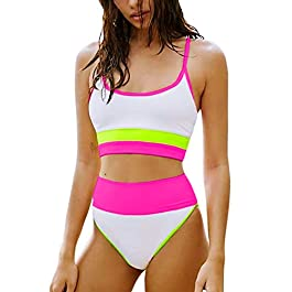 FAFOFA Women's Striped Color Block Scoop Neck High Waist Bikini Set 2 Pieces Swimsuit