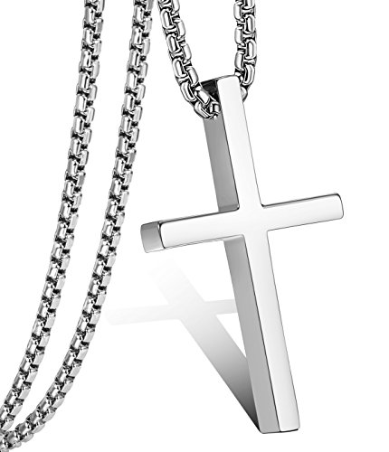 Jstyle Cross Necklace For Men Women Stainless Steel Small Jesus Pendant Necklace 22 Inches (Quality Stainless Steel Pendant)