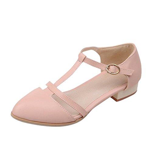 Mee Shoes Damen t-strap Schnalle niedriger Absatz Mary Jane Halbschuhe Pink