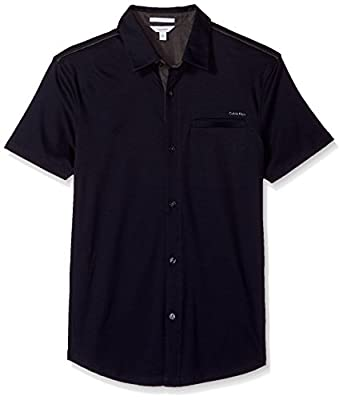 Calvin Klein Men's Short Sleeve Coatfront Polo Shirt