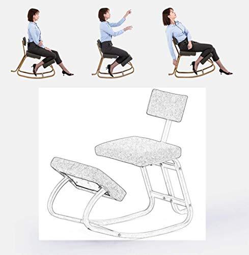 Stol ergonomisk knäböjning, kontor ergonomisk balans fotpall - svängande pall med ryggstöd för bra hållning för barn