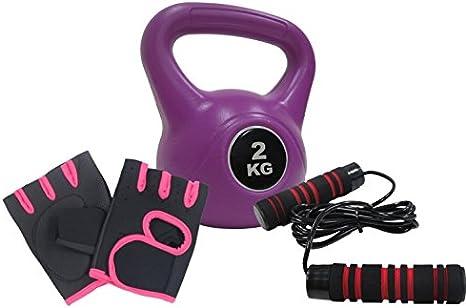 Fitness - Pack 2 K pesa rusa + Nylon + guantes de entrenamiento comba entrenamiento con pesas circuitos Cardio gimnasio en casa: Amazon.es: Deportes y aire libre
