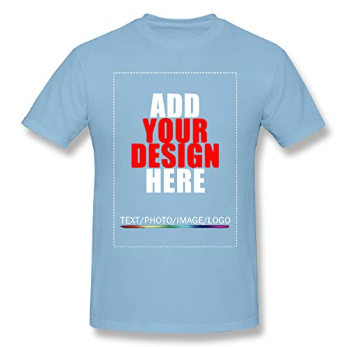 Mens Custom T-Shirt Custom Shirt Design Your Own Personalized Shirts Print Text Or Image Sky Blue L (Design Your Own Family Reunion T Shirt)