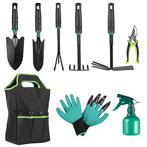 ZNCMRR 9 PCS Garden Tool Set Kids Gardening Tool Kit for Digging, Planting and Pruning, Gardening Hand Tools with Storage Bag, Ideal Garden Gifts for Men, Women and Any Gardener