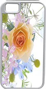 Rikki KnightTM Spring Bouquet with Yellow Rose on White Deisgn White Tough-It Case Cover for iPhone 5 & 5s(Double Layer case with Silicone Protection and Thick Front Bumper Protection)