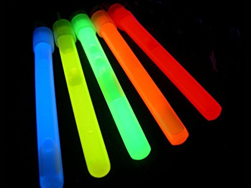 "Glow Sticks Bulk Wholesale, 50 4"" Glow Stick Light Sticks. Assorted Bright Colors, Kids love them! Glow 8-12 Hrs, 2-year Shelf Life, Sturdy Packaging, Glow With Us Brand (Halloween Spirits Locations)"