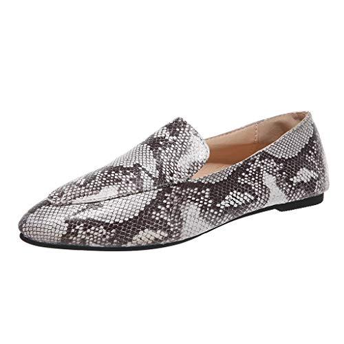 Tantisy ♣↭♣ Womens Classic Pointy Toe Ballet Flats Slip On Leopard Dress Flat Shoes Gray]()