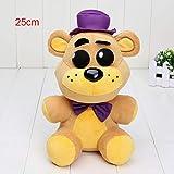 BAKER Store 14cm / 25cm Five Nights at Freddy Fazbear Plush Toy Owning Fredbear Golden Freddy Plush Doll Teddy Bear (25cm, Purple)
