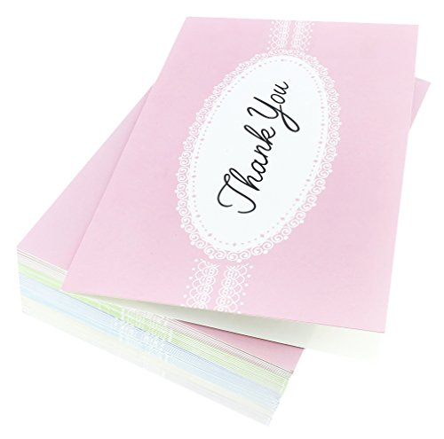 48 Pack Thank You Greeting Cards 6 Pastel Lace Greeting Cards Assortment Includes Corresponding Greeting Card Envelopes 4 x 6 inches Photo #4