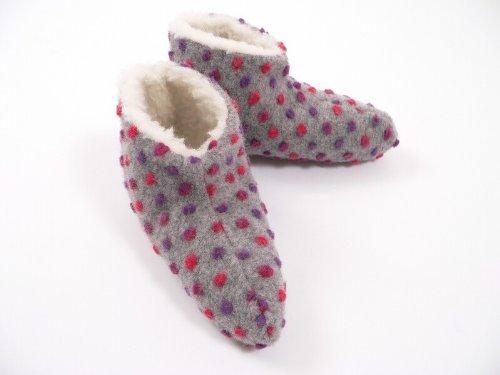 Bettschuhe Wolle Noppen, 100 % Schurwolle i.F., Farbe Silber, Größe 42-43, 12010106604
