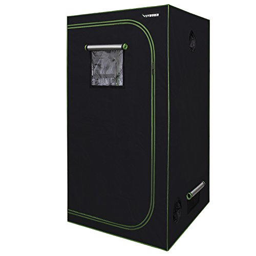 "VIVOSUN 36""x36""x72"" Mylar Hydroponic Grow Tent with Observation Window and Floor Tray for Indoor Plant Growing 3'x3'"