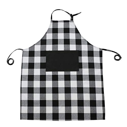 (famibay Cotton Linen Checker Apron with Pockets Adjustable Plaid Extra Long Ties for Cooking Baking Crafting Gardening & BBQ Daily Use Black/White 35