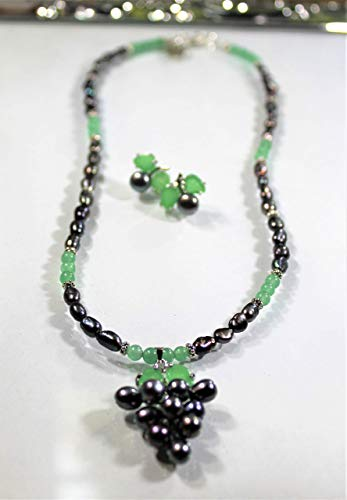 Black pearls set, black pearls and green aventurine set, black and green set, black pearl necklace and earrings - Aventurine Pearl Earrings