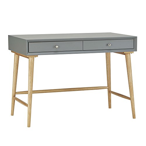 Mid Century Modern Wood Computer Writing Desk with 2 Drawer and Natural Legs - Includes Modhaus Living Pen (Gray)