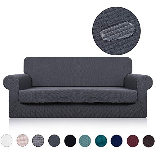 Couch Cover with Separate Seat Cushion Cover(2 Pieces Set) - Water Repellent,Knitted Jacquard,High Stretch - Living Room Sofa Slipcover/Protector/Shield for Dog Cat Pets(3 Seater Sofa,Dark Grey)