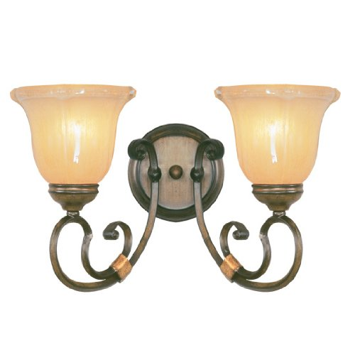 Livex Lighting 6222-62 Bath Vanity with Gold Dusted Sculpted Art Glass Shades, Windsor Walnut