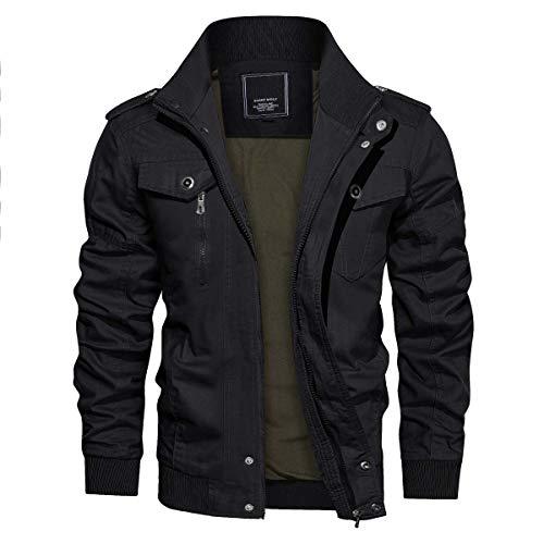 CRYSULLY Men's Spring Fall Casual Windbreaker Jacket Cargo Stand Collar Military Bomber Jackets Coat