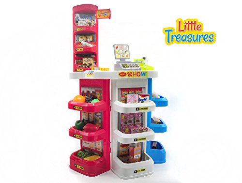 Little Treasures 32 piece home supermarket luxury supermarket grocery store playset with working scanner - Great pretend Realistic toy set
