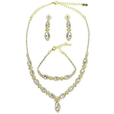Hot Women's Marquise Rhinestone Necklace Earring and Bracelet Set free shipping