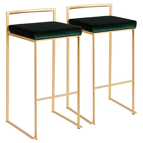 Stackable Barstool in Gold and Green Finish - Set of 2