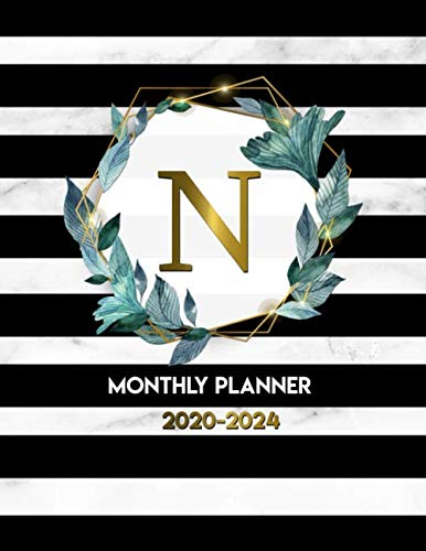 2020-2024 Monthly Planner: Initial Monogram Letter N Five Year Organizer with 60 Months Spread View. Trendy 5 Year Calendar, Journal, Agenda and ... Notebook - Gold Black & Marble Floral Print