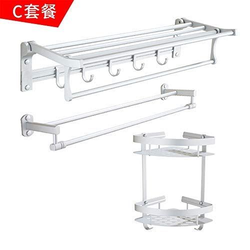 C BAIF TowelRackQX Bathroom Shelf,Space Aluminum Bathroom Folding Rack Bathroom Bathroom Hardware Pendant Set Tissue Box 3