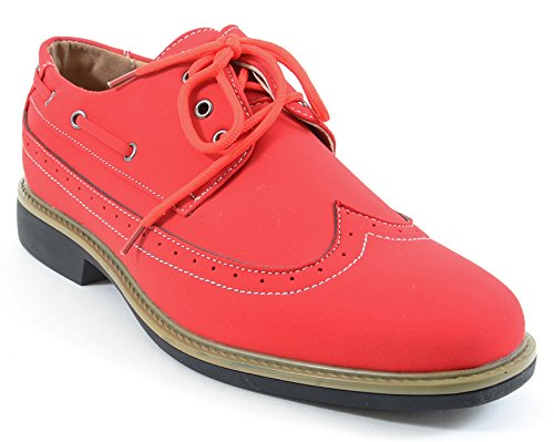 Heren Wing-tip Vegan Suède Rockabilly Casual Jurk Rode Oxford Schoenen