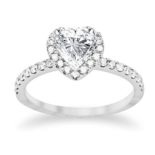 (1.08 Carat GIA Certified 14K White Gold Split Shank Heart Cut Diamond Engagement Ring (0.58 Ct F Color SI2 Clarity Center))