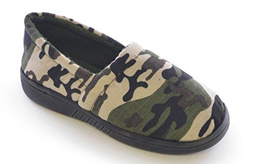 NEW BOYS Kids Classic sur Camouflage style antidérapant en polaire doublée Chaussons ft0556complet - Vert - Olive, 30 EU enfant