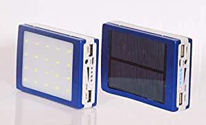 5000mAH Portable Solar Charger Dual USB External Battery Power Bank with 20 LED