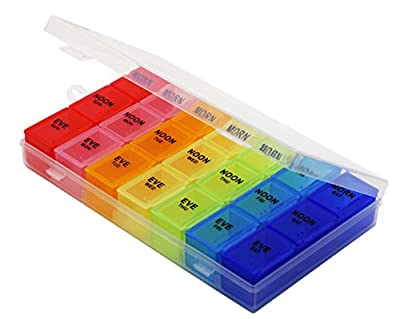 Rainbow Weekly Pill Organizer with Snap Lids| 7-day AM/PM | Detachable Compartments for Pills, Vitamin. from Inspiration Industry NY