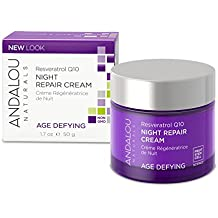 Andalou Naturals Resveratrol Q10 Night Repair Cream, 1.7 oz., For Dry Skin, Fine Lines & Wrinkles, For Softer, Smoother, Younger Looking Skin