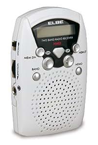 Elbe RS-60-D - Mini radio de bolsillo digital estereo, display LCD, auriculares incluidos, color plateado