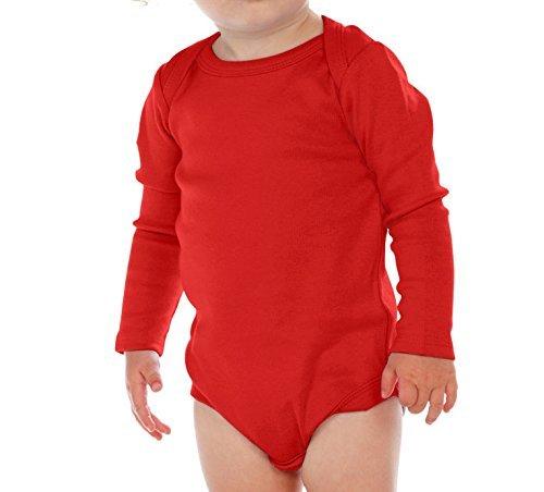 Red Onesies - Kavio Unisex Infants Lap Shoulder Long Sleeve Onesie, Red, 12M