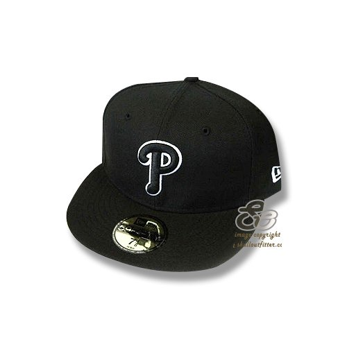 New Era 59Fifty Hat MLB Philadelphia Phillies Black/White Fitted Headwear Cap ()
