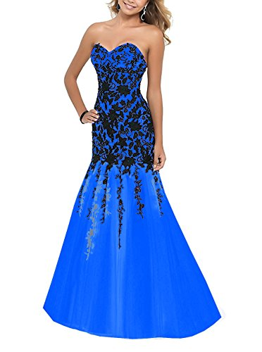 Fanciest Appliques Dresses 2017 Evening Royal Gowns Blue Prom Women's Sweetheart Mermaid awxPEa7r