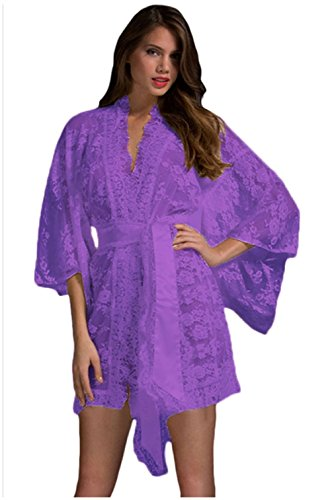 The Alien Costume Part 2 (FQHOME Womens Purple Belted Lace Kimono Nightwear Size L)